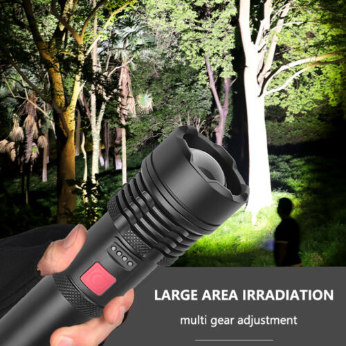XHP50 Mini LED Hand Torch Flashlight Lamp Zoomable Rechargeable Camping Light UK