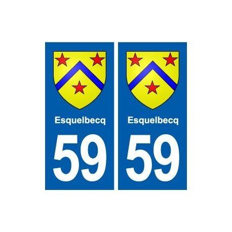 59 Esquelbecq blason autocollant plaque stickers ville droits