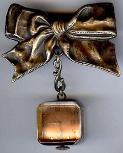 VINTAGE-1940S-STERLING-SILVER-BOW-PIN-BROOCH-WITH-DANGLE-LUCITE-WATCH