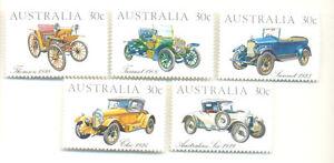 Vintage Cars-Australia-5 values mnh