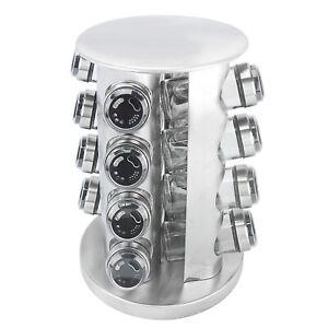16 Jar Shaker Kitchen Countertop Holder Stainless Revolving Spice Rack Organizer
