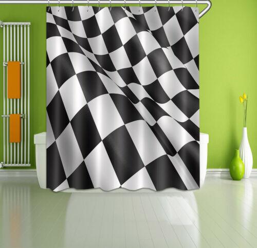 "Float Race Flag Waterproof Polyester Fabric Bathroom Shower Curtain Hooks 72//79/"""
