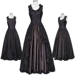 Retro-Victorian-Formal-Dress-Gown-Gothic-Theater-Steampunk-Satin-Soft-Costume