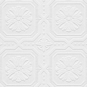 Romanesque ceiling tile raised white textured paintable - Textured wallpaper on ceiling ...