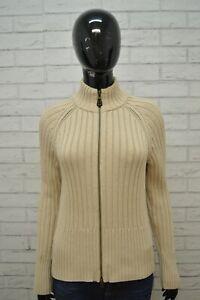 Maglione-TOMMY-HILFIGER-Felpa-Donna-L-Pullover-Sweater-Cardigan-Cotone-Beige