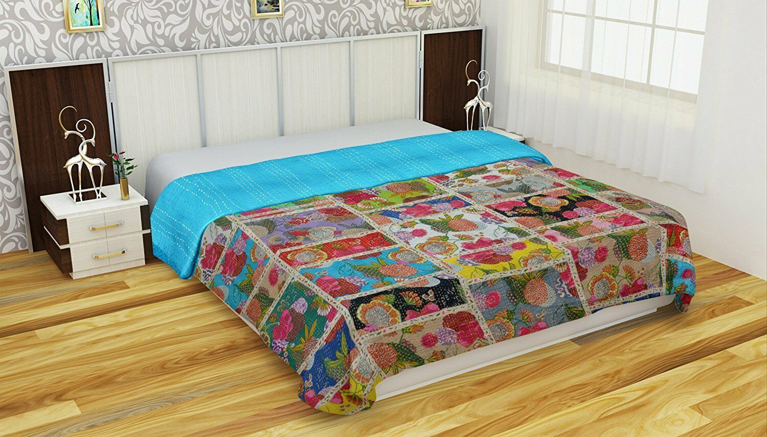 Indian Handmade Floral Patchwork Cotton Kantha Quilt Throw Blanket Vintage Throw