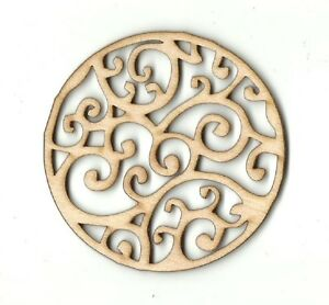 Circle Design - Unfinished Laser Cut Out Wood Shape Craft Supply DSN31