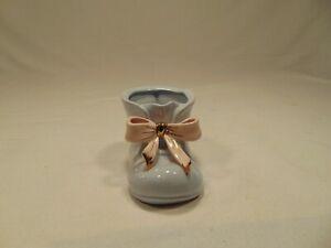 Vintage Napco Japan Ceramic Baby Boy Bootie Shoe Planter with Pink Ribbon EUC