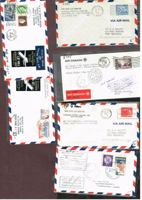 4-PAGES Canada FFC's AIRMAIL TO/FROM WORLDWIDE  (BER29,3