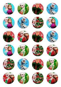 24 Frozen Christmas Cupcake Fairy Cake Topper Edible Rice ...