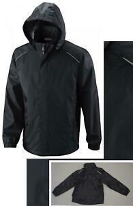 new-ZUZIFY-Mens-Seam-Sealed-Waterproof-Hooded-Raincoat-Rain-Jacket-Black-Large