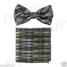 New In Box Men's Pre-tied Bow Tie And Hankie Set Stripes Squares Prom Green Gray