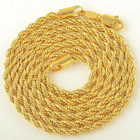 4mm jewelry Yellow Gold Plated mens womens Rope long Fashion Necklace chain 24''