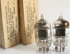 2 matched 1945 Sylvania JAN-CHS-6AK5 (5654,403B,6J1) tubes- Black Plate, Top [ ]