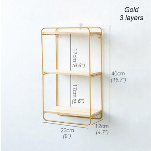 Metal Wall-Mounted Hanging Rectangular Shelf Storage Organizer Gold Black