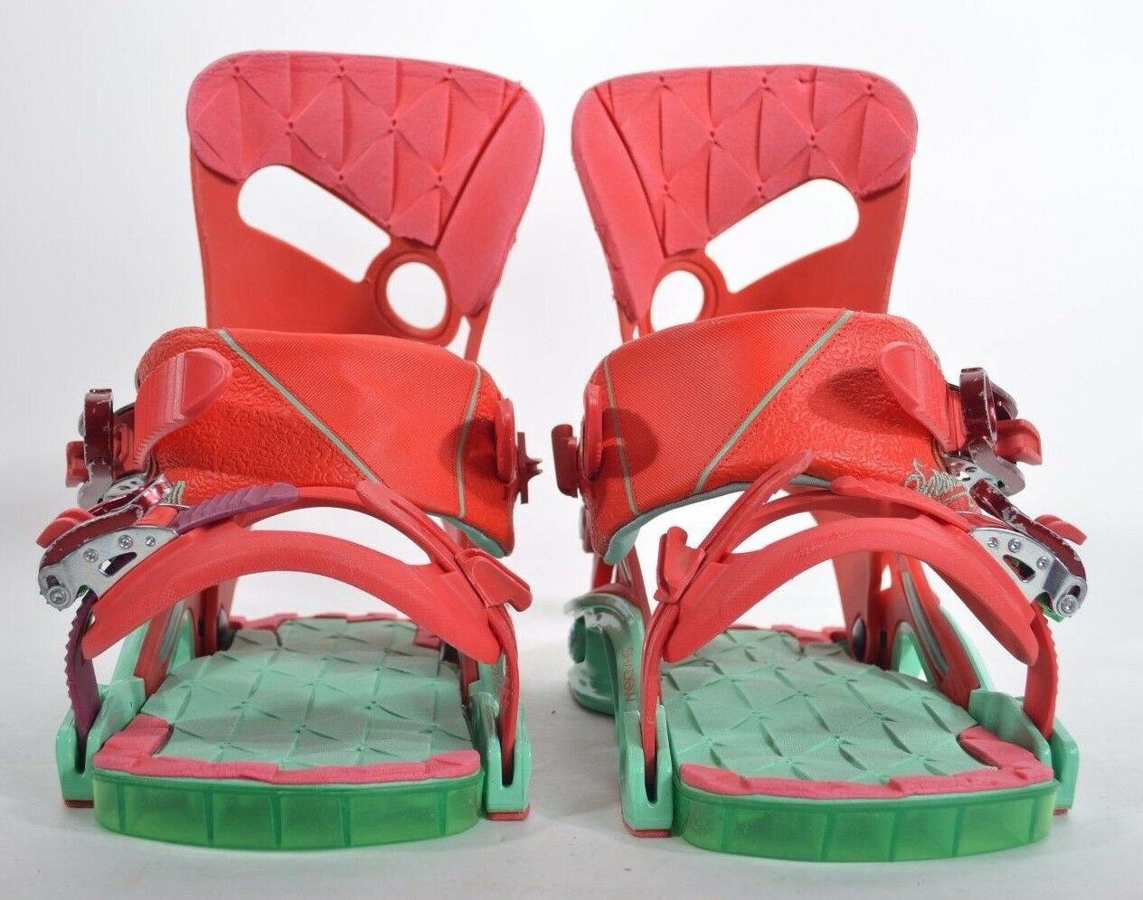 2016 WOMENS SALOMON MIRAGE SNOWBOARD BINDINGS   278 S red turquoise flexible USED  new sadie