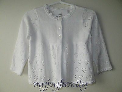 HANNA ANDERSSON Pretty Pointelle Organic Cardigan Sweater White 70 9-18 mos NWT