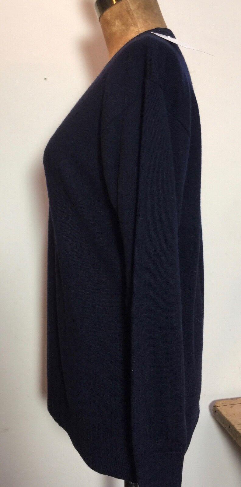 Navy Classico 100% Puro Nuova Lana Girocollo Girocollo Girocollo lunghezza più lunga maglione Pullover 44  B 9b4b2b