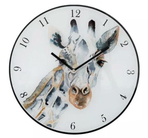 Naturecraft Meg Hawkins Girafe Verre Design Horloge Murale 30 cm Brand New Boxed