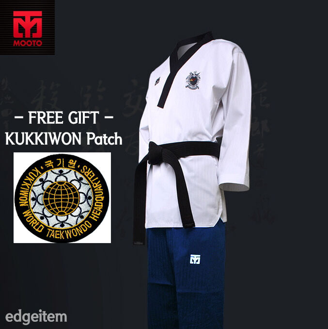 MOOTO  Poomsae WTF Dan Uniform (Female) with KUKKIWON Patch Taekwondo Dobok  with 100% quality and %100 service