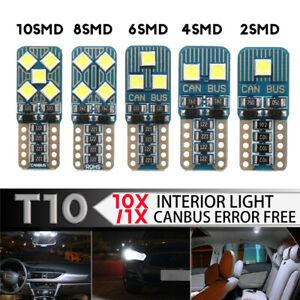 1-10PCS-T10-LED-Car-Bulb-Wedge-Instrument-License-Plate-Light-Canbus-Error-Free
