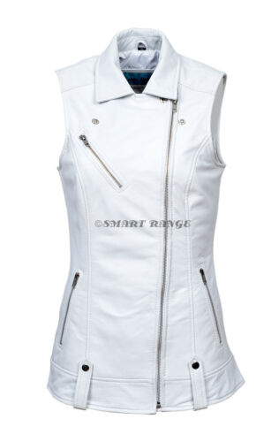 Ladies Leather Waistcoat White Motorcycle Biker Style Steam Punk REAL NAPA 6385