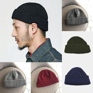 1cf33829ac301 Men Knitted Hat Beanie Skullcap Sailor Cap Cuff Brimless Retro Navy ...