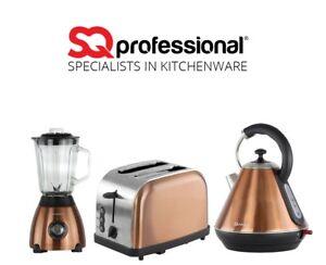 1.8L Electric Kettle Bagel Toaster Blender & Grinder Copper Matching Kitchen Set