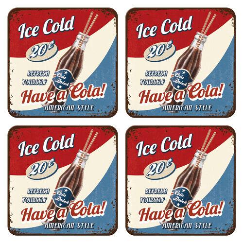 Have a cola Amerika Blech Nostalgie Untersetzer-Set 4-tlg Metall Tin Sign US03