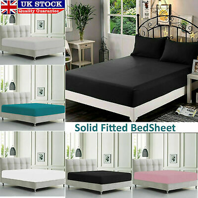 Fitted Sheet Bed Single Double Super King Size Poly Cotton Mattress Cover Deep