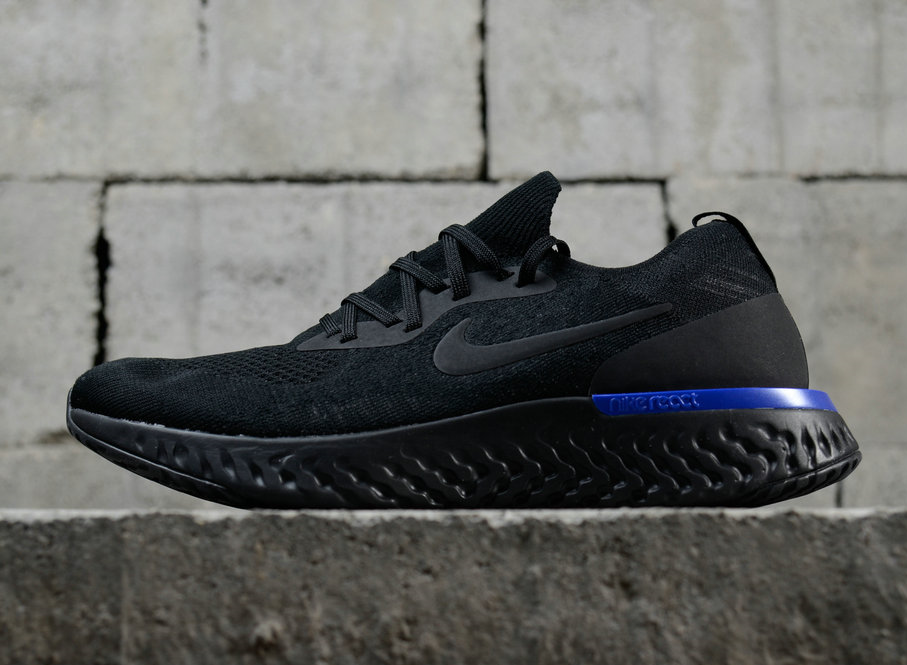 Nike Epic React Flyknit Triple Black Racer bluee Mens Trainers  All Sizes