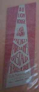 Antique-Brand-Pages-Bookmark-Advertising-Earthenware-Porcelain-to-Lion-D-Gold