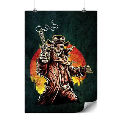 Skeleton Western Skull Matte//Glossy PosterWellcoda
