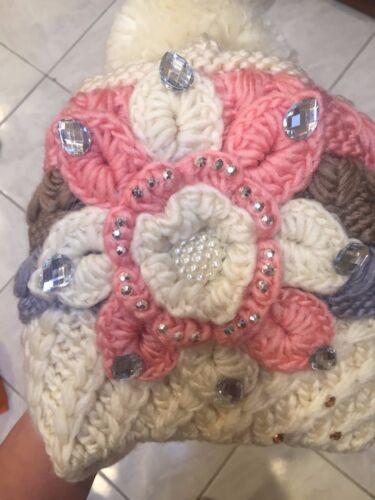 Women/'s Winter Knitted 3D Flower Rhinestone Beanie Pompom Hat Cap US Seller