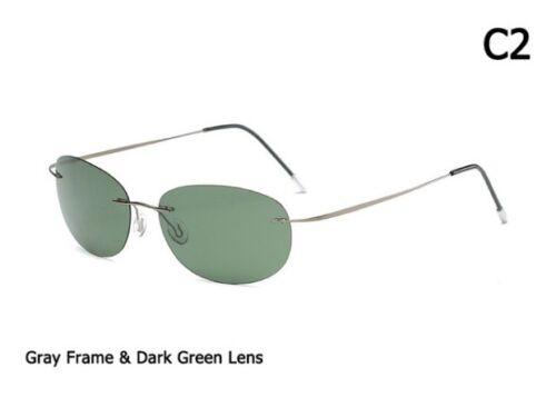 President Ultralight Titanium Polarized Sunglasses Brand Rimless Oval Design
