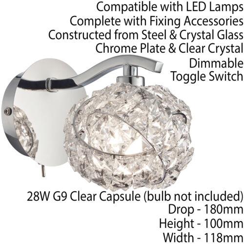 2 PACK Dimming LED Wall Light –Pretty Twist Crystal Knott /& Chrome– Lamp Fitting