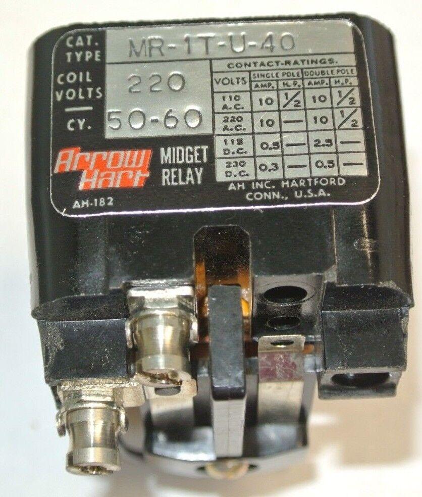 Arrow Hart Mr 1t U 40 Magnetic Relay 1 Pole 220 Volt 50 60hz Coil Electrical For 220v Mr1tu40 Ebay