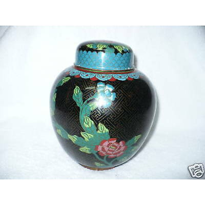 K1- VINTAGE  CLOISONNE URN WITH LID (ABOUT 7 INCHES TALL) #2431