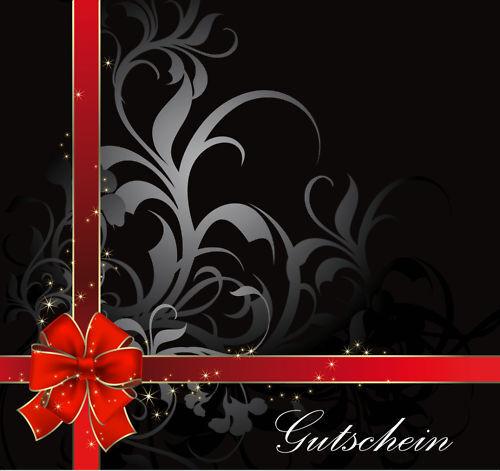 50 x Premium Geschenkgutscheine Klappkarten schwarz rote Schleife Weihnachten