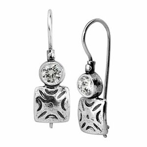 Silpada-039-Creative-Foundation-039-Drop-Earrings-with-Cubic-Zirconia-in-Sterling