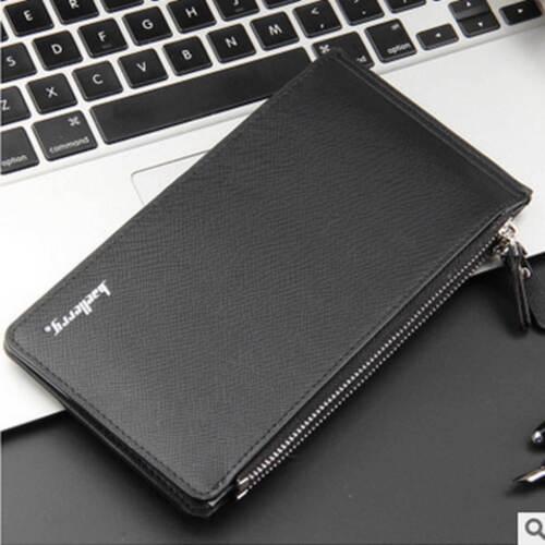 Luxury Men/'s Cross Pattern Leather Zipper Casual Long Style Multifunction Clip