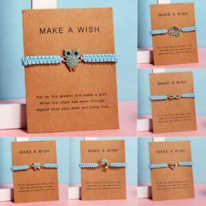 Handmade-Heart-Owl-Infinity-Rope-Bangle-Bracelet-Friendship-Card-Jewelry-Gifts