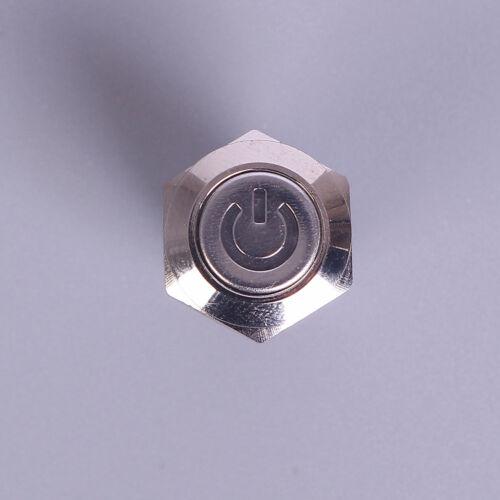 12mm 12V Verriegelungstaster Schwarz Metall LED LED Stromversorgung MomentschWP4