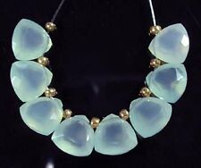 8 AQUA BLUE CHALCEDONY FACETED TRILLION BRIOLETTE BEADS 8 mm  C13