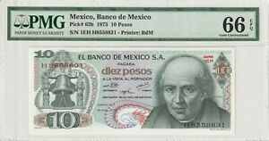 PMG-Certified-Mexico-1975-10-Pesos-Banknote-UNC-66-EPQ-Gem-Pick-63h-US-Seller