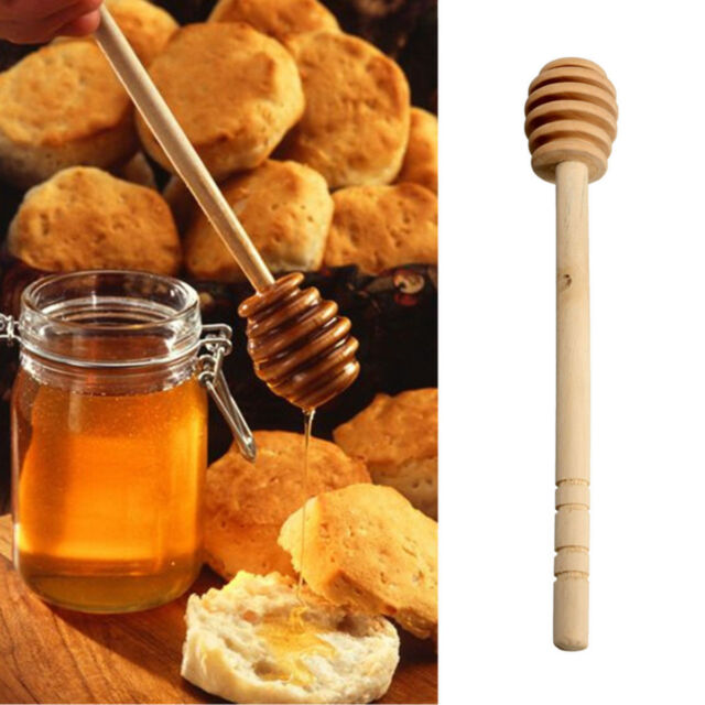 Wooden Silicone Honey Dipper Dripper Drizzler  Pot Hunny Spoon Honny