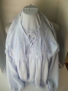 Womens-Cato-Peasant-Gypsy-Boho-Lace-V-Neck-Poet-Top-Blouse-Sz-S-Excellent-Cond