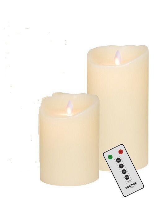 2er SET  Sompex Flame LED Kerzen V14 Elfenbein 12,5cm, 18cm mit Fernbedienung