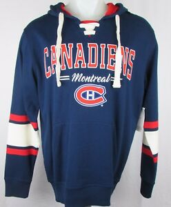 low priced 146f6 d534e Details about Montreal Canadiens Men G-III Pullover Laced Navy Blue Hoodie