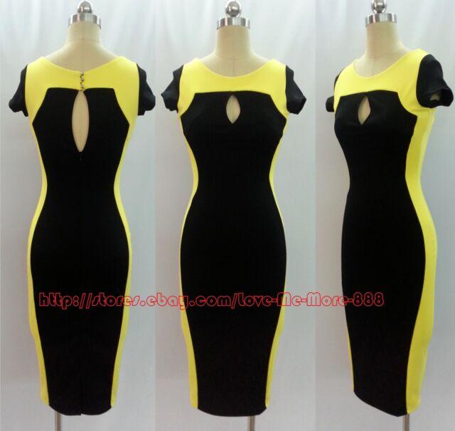 Celebrity Party Work Club Slimming Fit Stretch Wiggle Pencil Bodycon Midi Dress